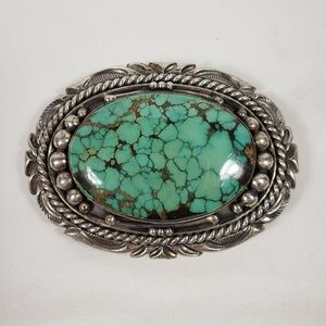 Sterling Silver and Turquoise Belt Buckle by Dale